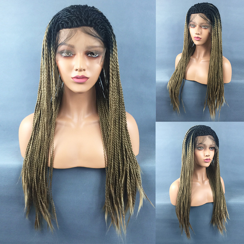 Hair Braided Lace Front Wigs Braided Box Braids Wig Malaysian Cornrow Wigs 71CM