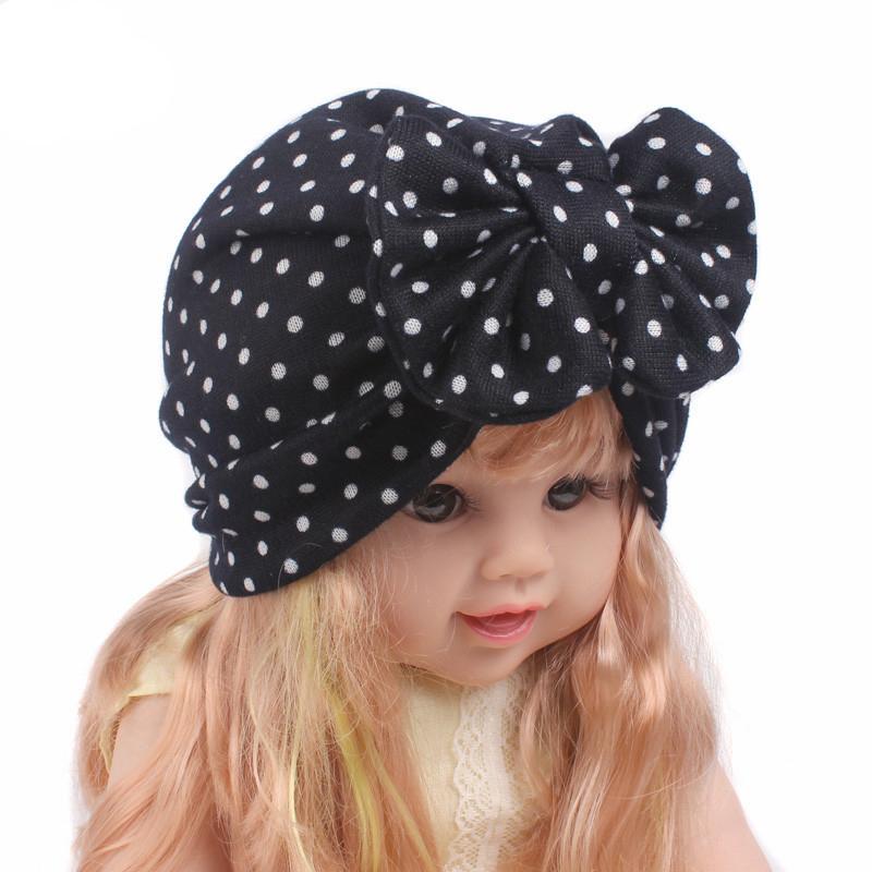 Newborn Toddler Kids Baby Girl Bow Knot Turban Beanie Hat Cap Polka Dot Headband