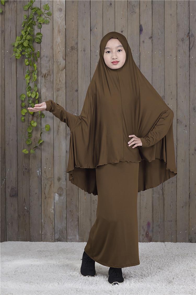 Muslim Kids Girls Prayer Printed Long Dress Hijab Set Arab Abaya Jilbab Islamic