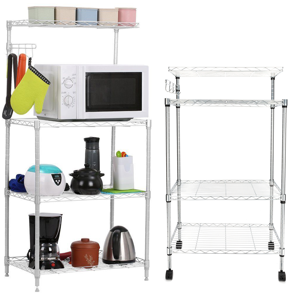 Details about 4 Tiers Kitchen Bakers Rack Microwave Oven Stand Storage Cart  Workstation Shelf