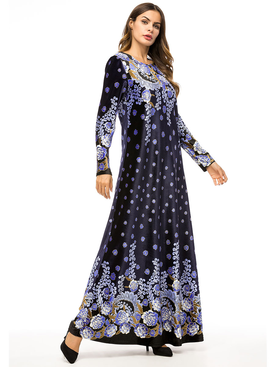 026639b455b Abaya Muslim Women Embroidery Velvet Long Dress Flower Islam Maxi Robe Plus  Size