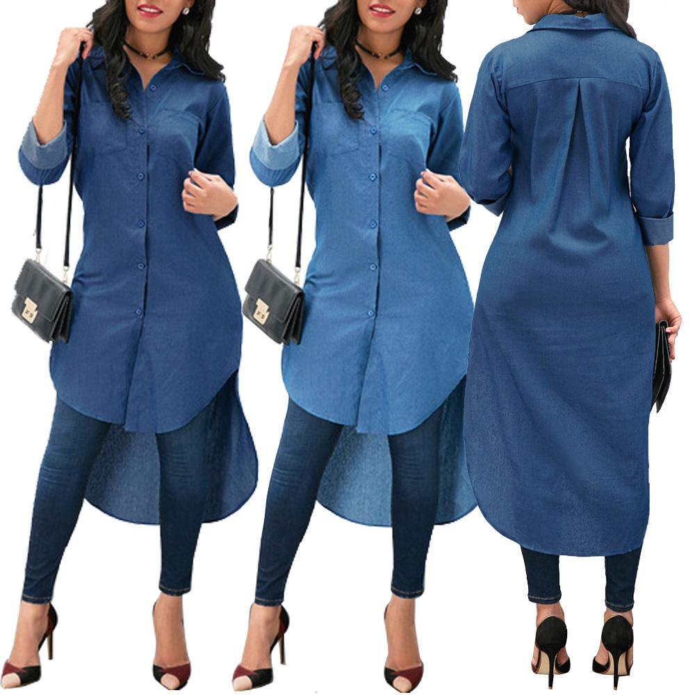Women Denim Long Sleeve T-shirt Tops Casual Blue Jeans Loose Shirt