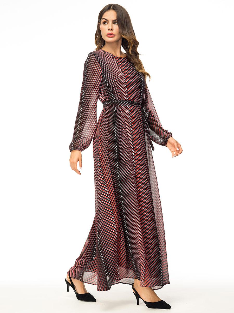 Women Muslim Stripes Chiffon Long Maxi Dress Kaftan