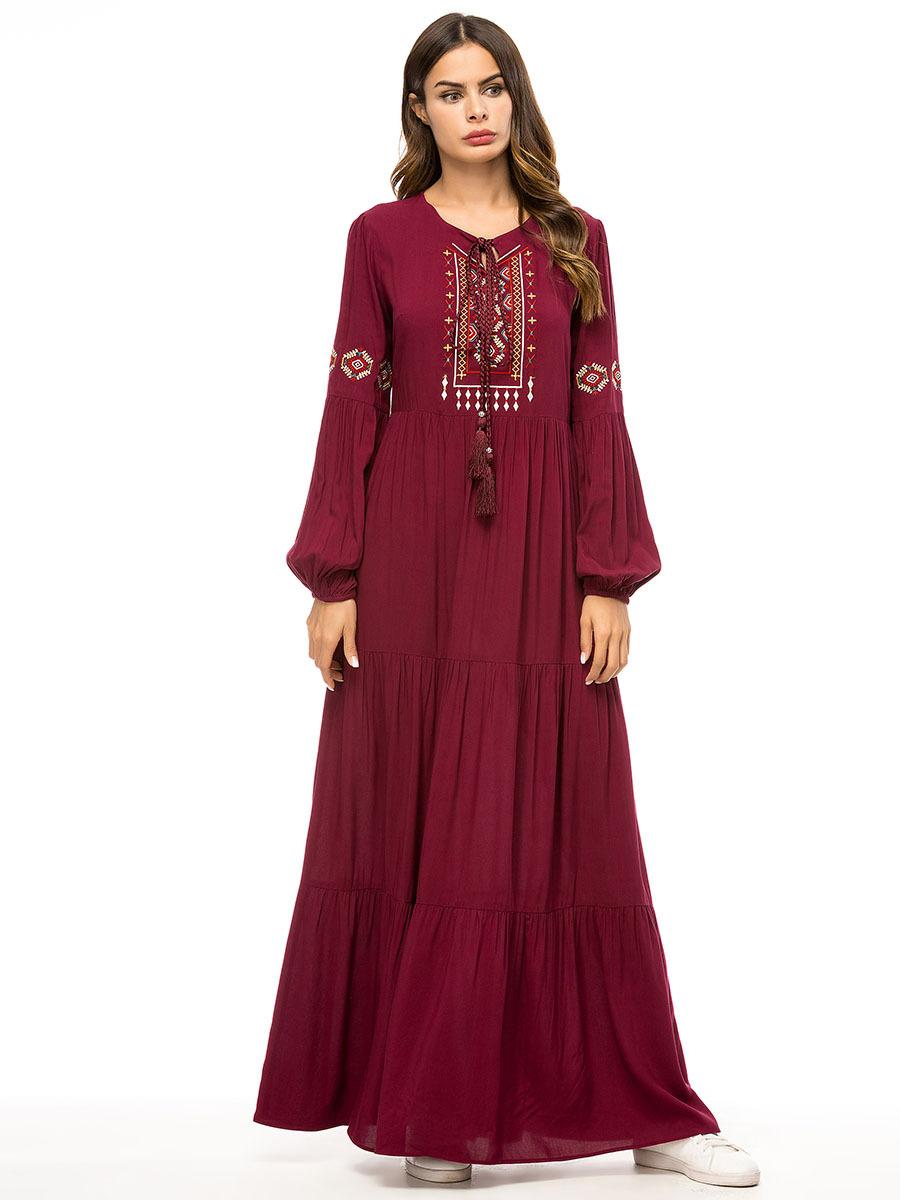 357c73e9f9 Vintage Muslim Women Long Maxi Dress Dubai Embroidery Gown Islamic Abaya  Kaftan