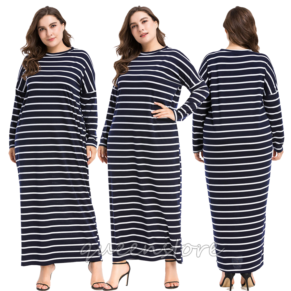Lady Long Sleeve Shirt Dress Women Fashion Stripe Maxi Dress Slim Cocktail  Dress 0398f2777