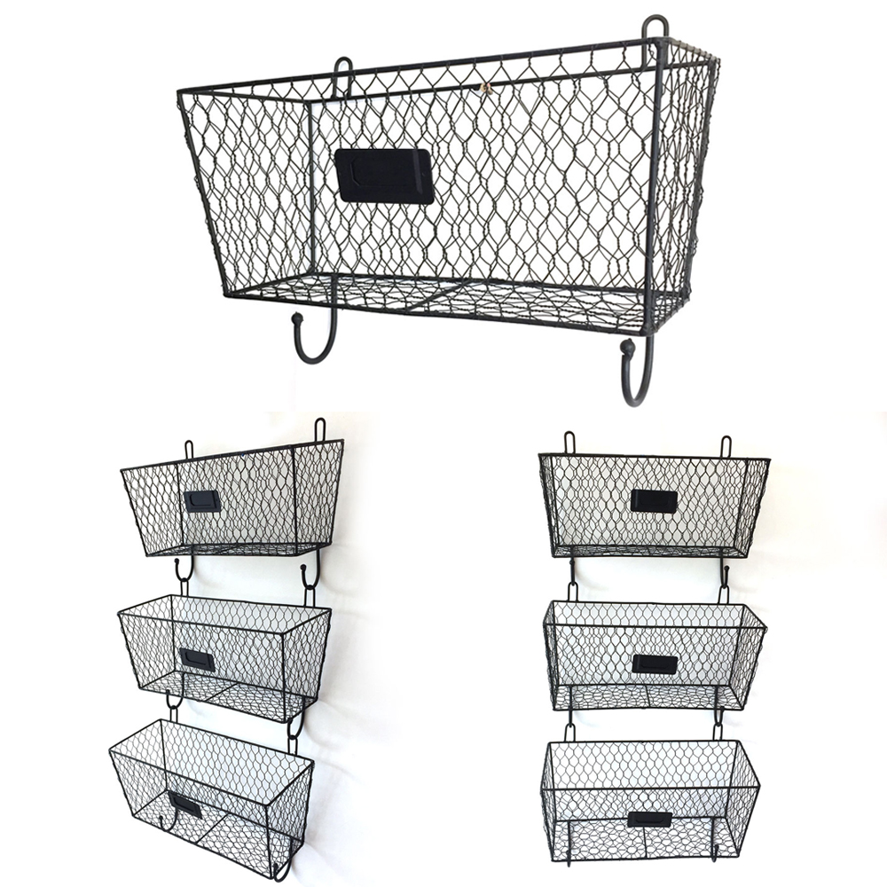 Details About Organizer Baskets Metal Mesh Holder Home Decor 3pcs Wall Mounted Storage