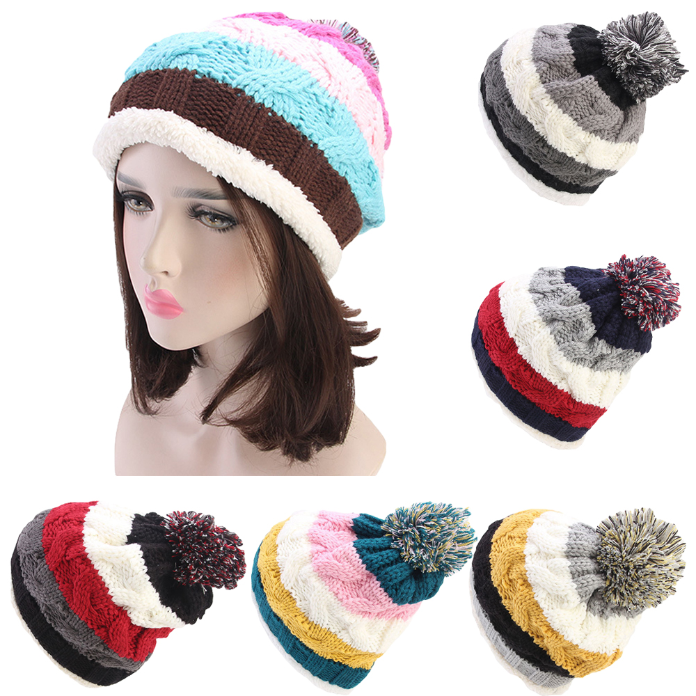 81843a3c1e7 Details about Korean Cable Knitted Bobble Hat Stripe Women Beanie Warm  Winter Pom Wooly Cap