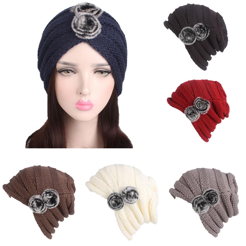 Women Ladies Knitted Crochet Pile Cap Bonnet Ball Warm Winter Beanie ... 31631458490