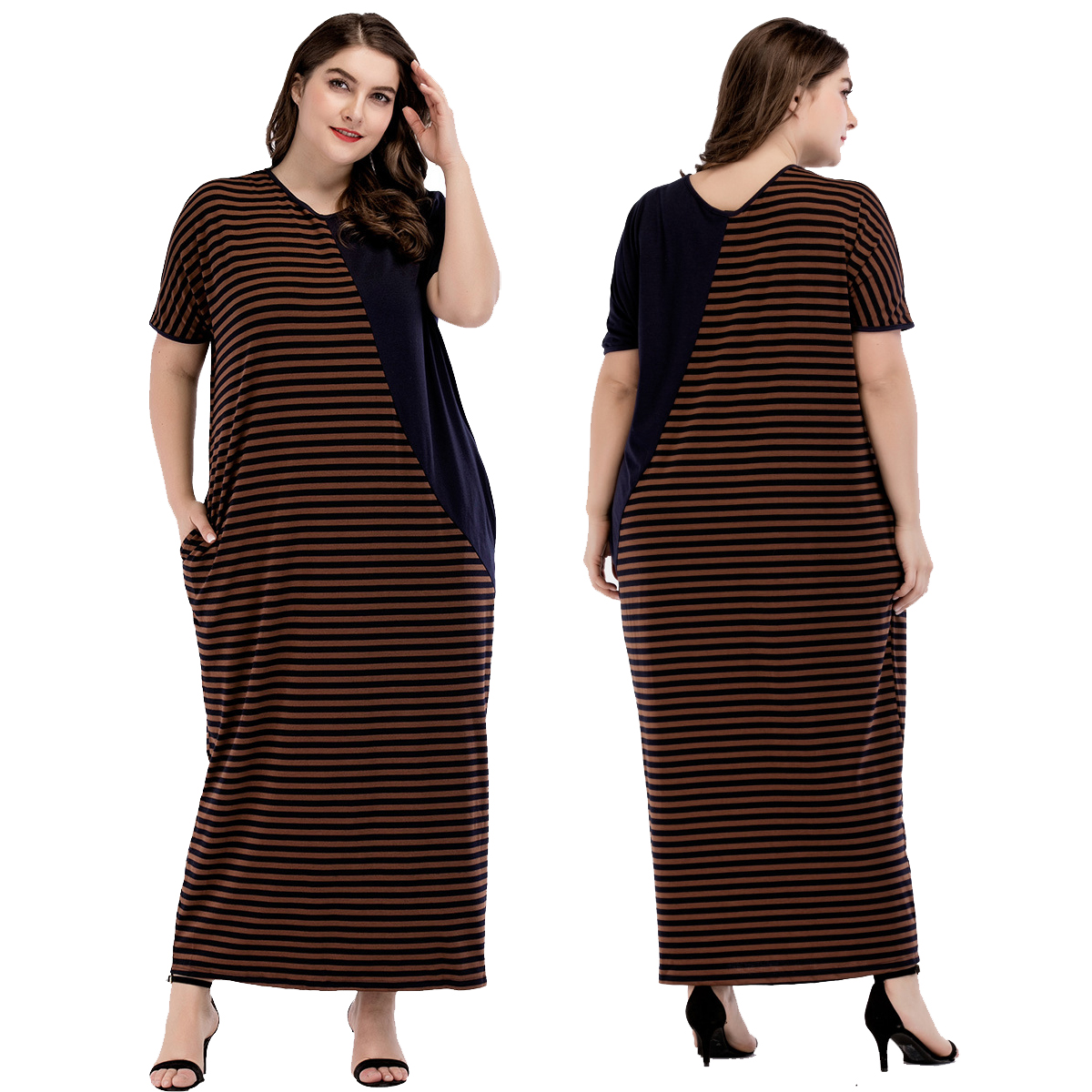 9ee9aa02d7 Details about Women Long Robe Stripe Maxi Dress Casual Muslim Abaya  Moroccan Kaftan Islam Arab