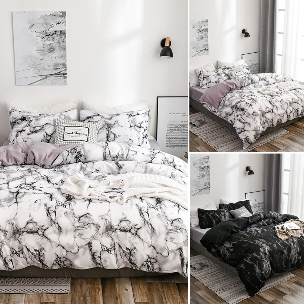 Soft Gray Printed Duvet Cover Quilt Bedding Set Pillowcases Twin Queen King Size