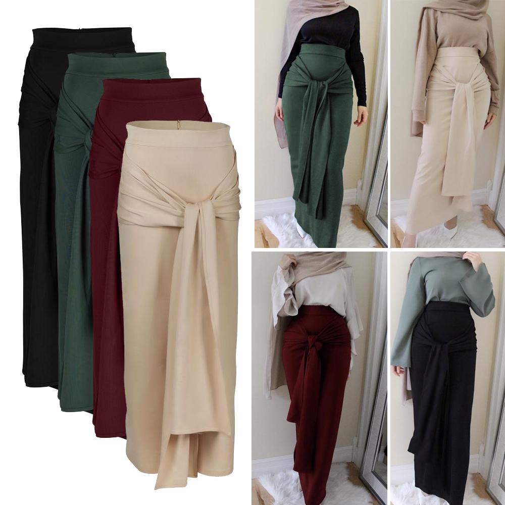 Islam Women High Waist Knitted Pencil Bodycon Skirt Dress Long Muslim Arab Dress