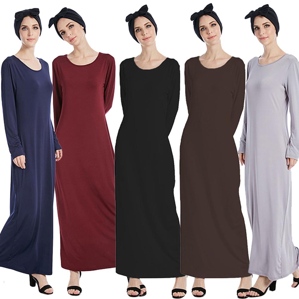 5521a8889fca Women Long Sleeve Maxi Dress Muslim Bodycon Abaya Kaftan Jilbab ...