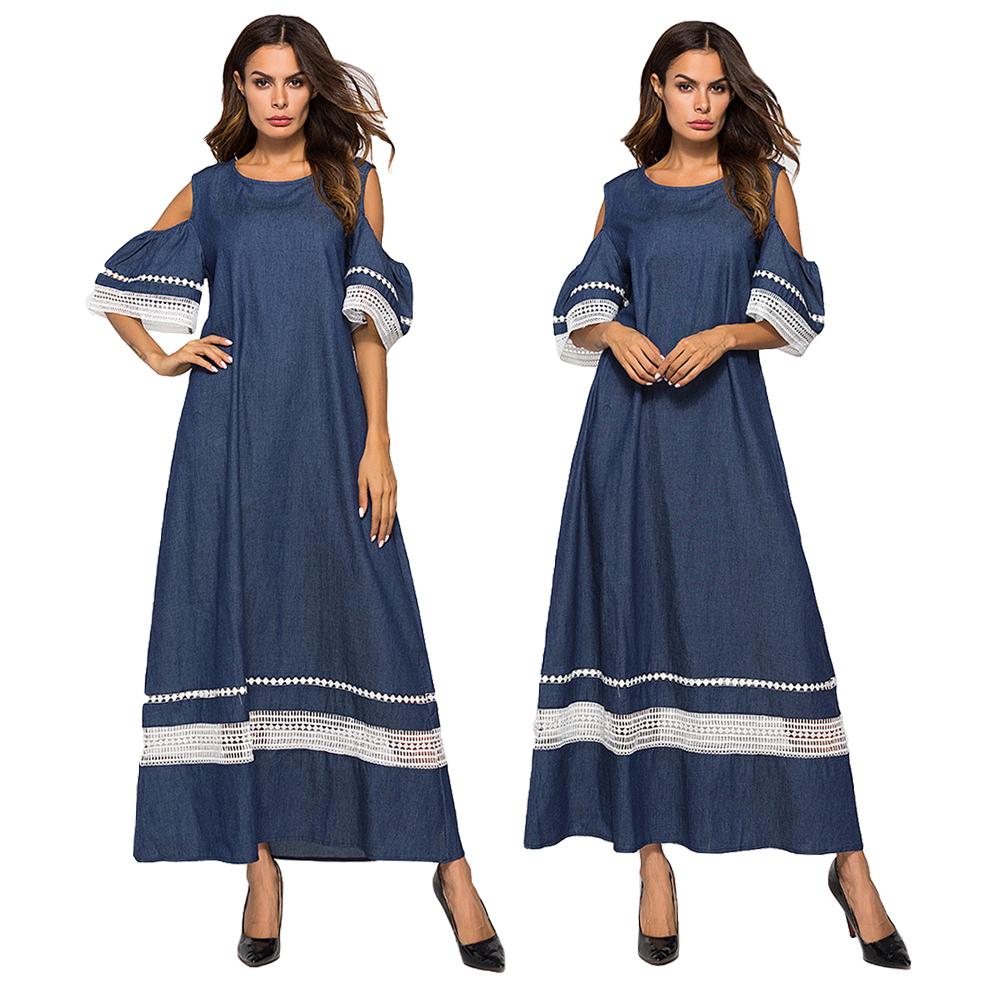 69d2d3e8c93b Muslim Women Denim Long Maxi Dress Cold Shoulder Abaya Shift Kaftan ...