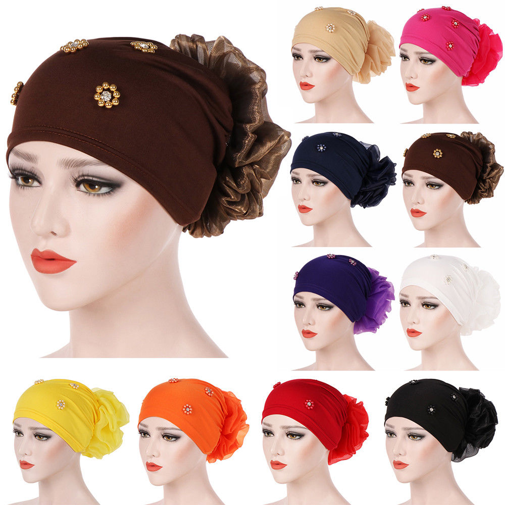 Women Big Flower Turban Beanie Cap Hair Loss Chemo Hat Lady Wrap Headscarf Hijab