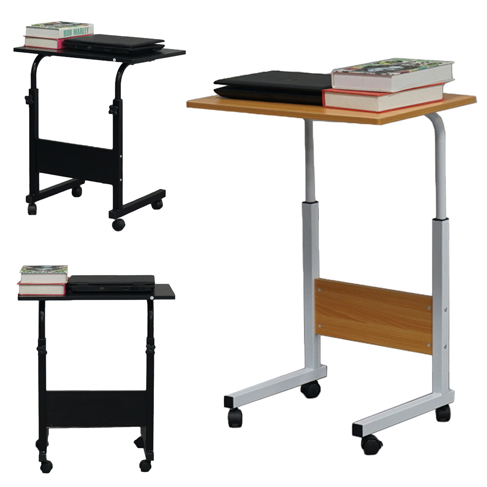Details About PC Computer Rolling Desk Laptop Height Adjustable Table Cart  Mobile Bed Stand US