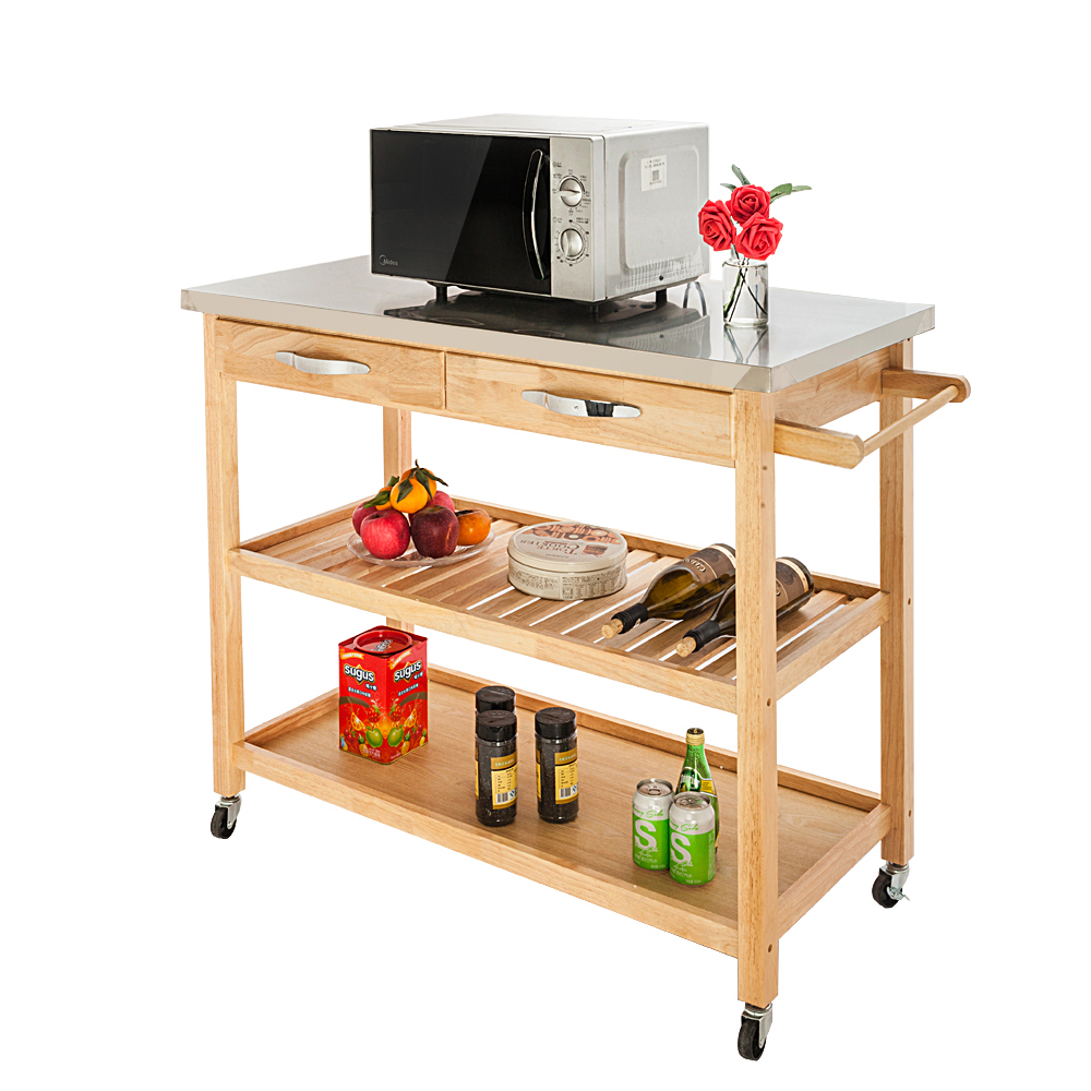 Details about New Portable Kitchen Island Cart Trolley Rolling Storage  Dining Table w/Drawers
