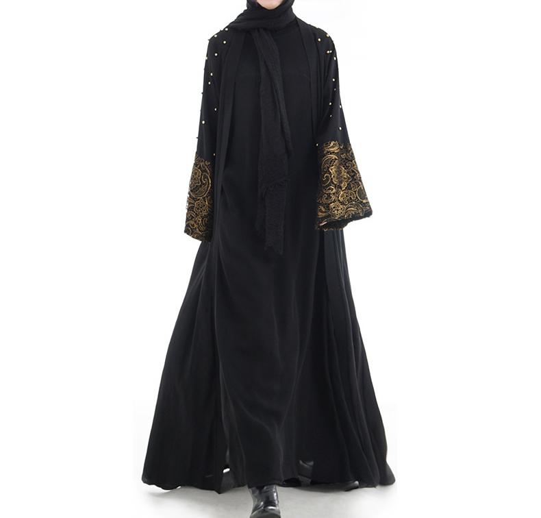 836b3192050 Dubai Beaded Kaftan Muslim Open Abaya Maxi Party Dress Arab Jilbab Robe  Cardigan