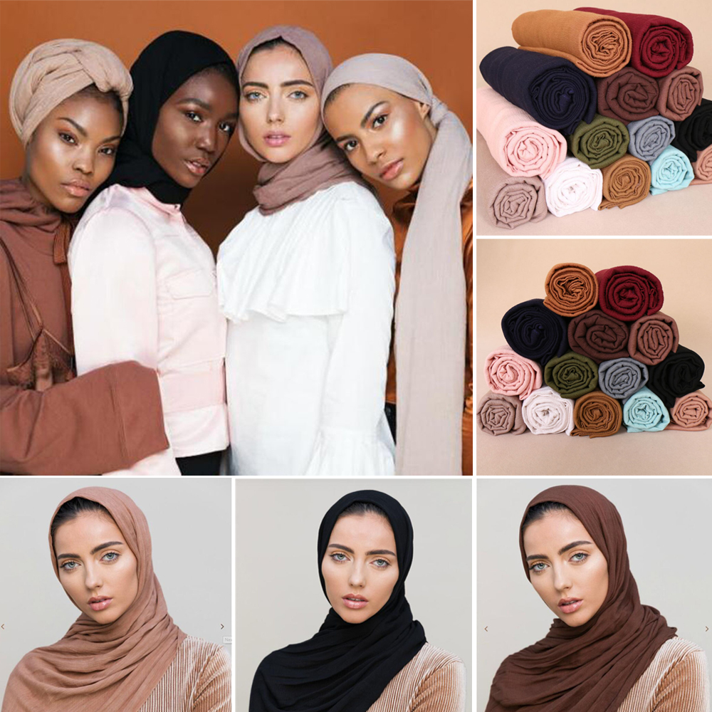 New Crinkle Elastic Print Muslim Long Scarf Islamic Hijab Arab Shawls Shayla