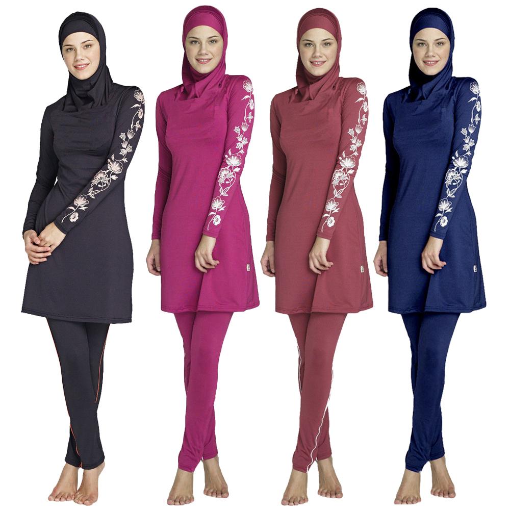 Muslim Women Kids Girls Costume Modest Swimwear Arab Full Cover Bathing Swimsuit