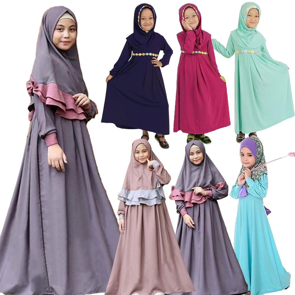 Muslim Girls Prayer Long Maxi Dress Hijab Set Kaftan Arab Kids Islamic Abaya New