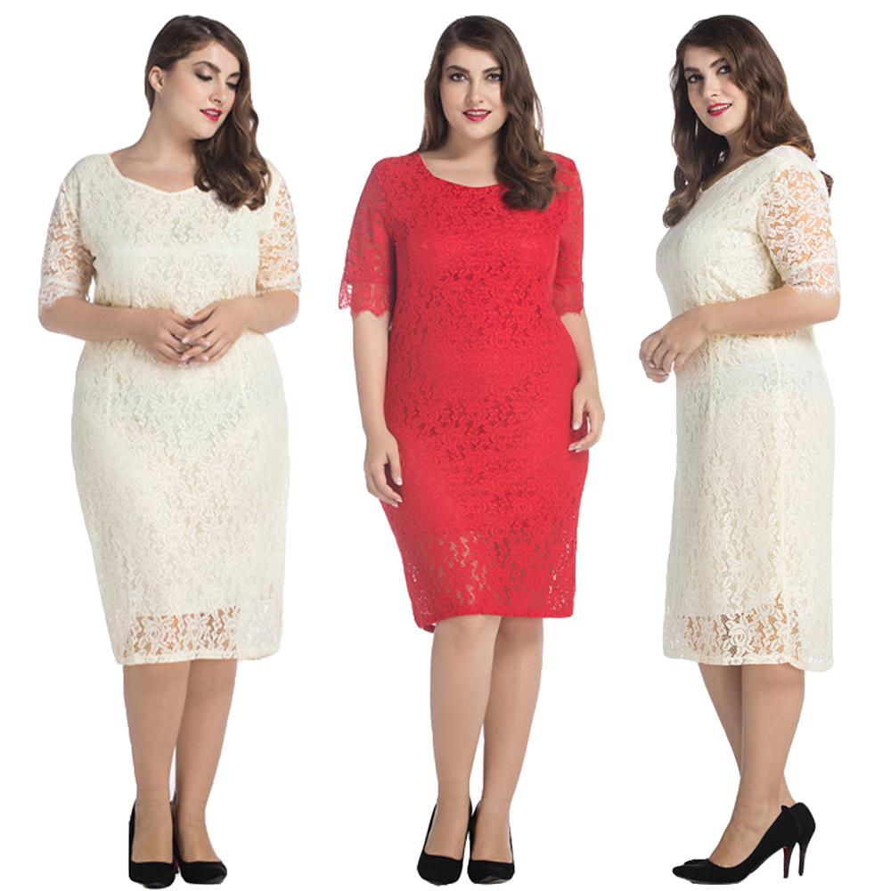 Women Plus Size Lace Dress Fashion Short Evening Party ...