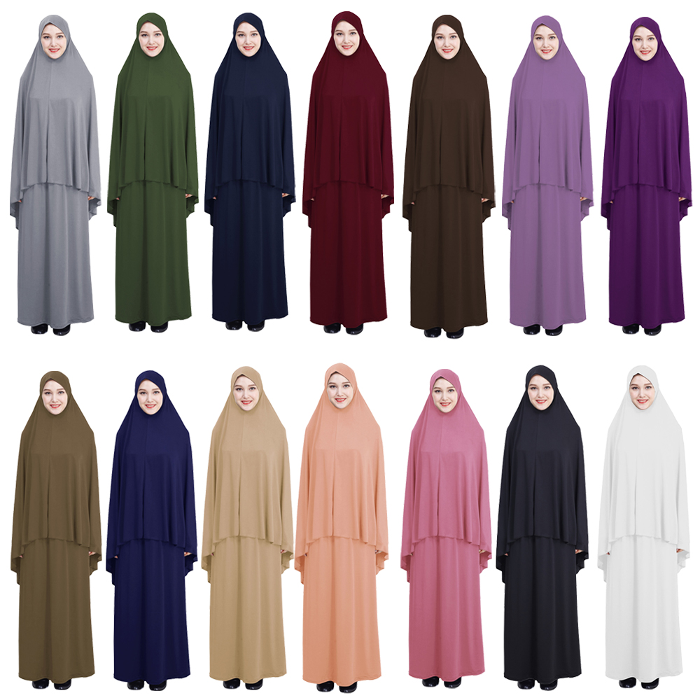 Women Prayer Clothes Set Muslim Abaya Jilbab Long Dress Arab Hijab
