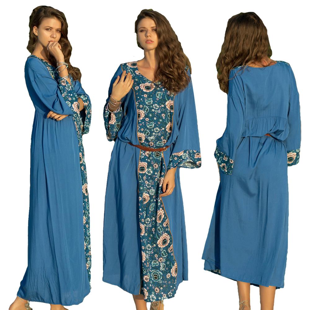 6008562451 Details about Floral Long Sleeve V-neck Holiday Beach Dresses Women Ethnic  Boho Dress Kaftan