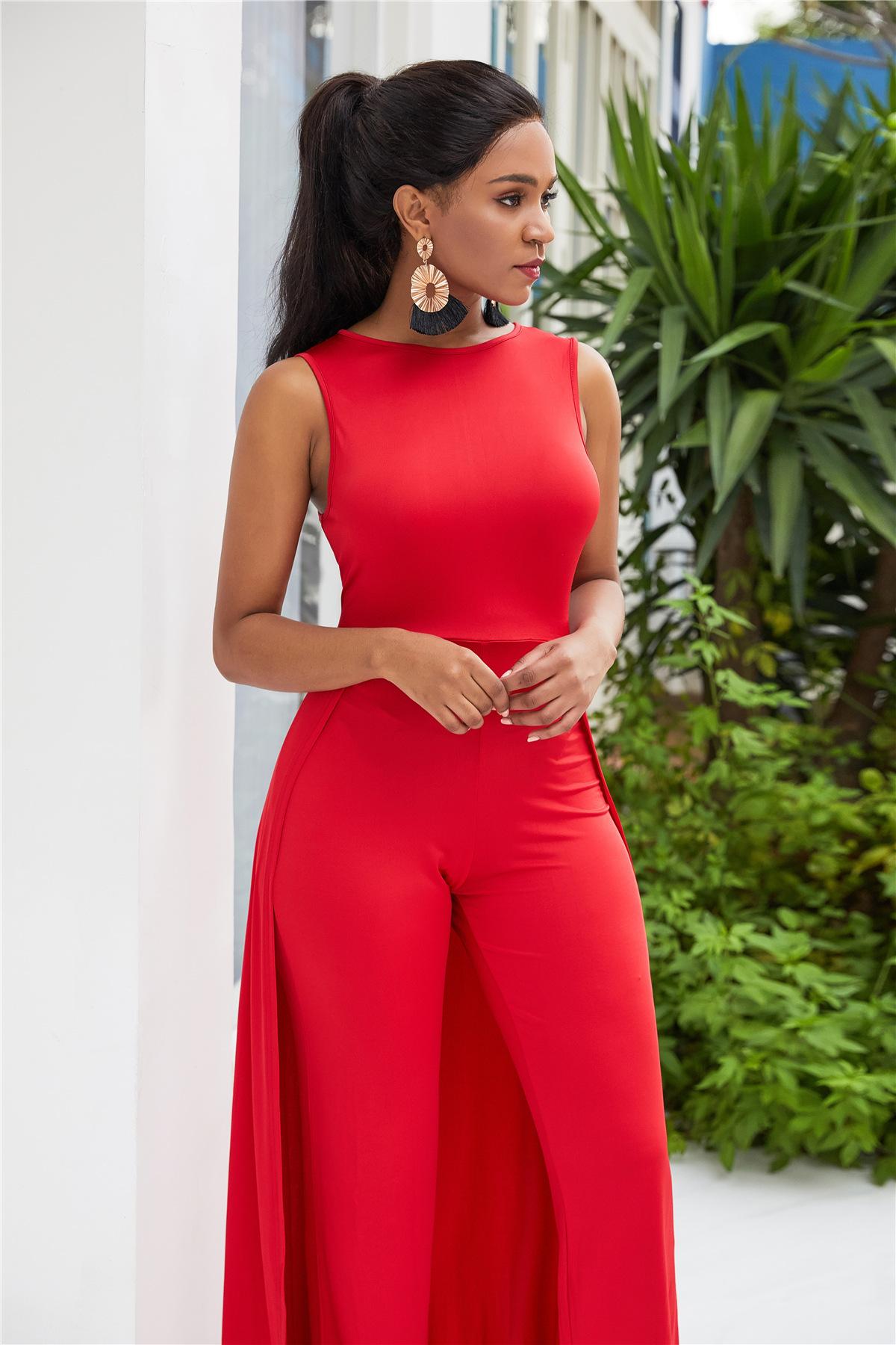 Femme Rouge Combinaison Barboteuse Pantalon Desseré Clubwear Robe Tenues