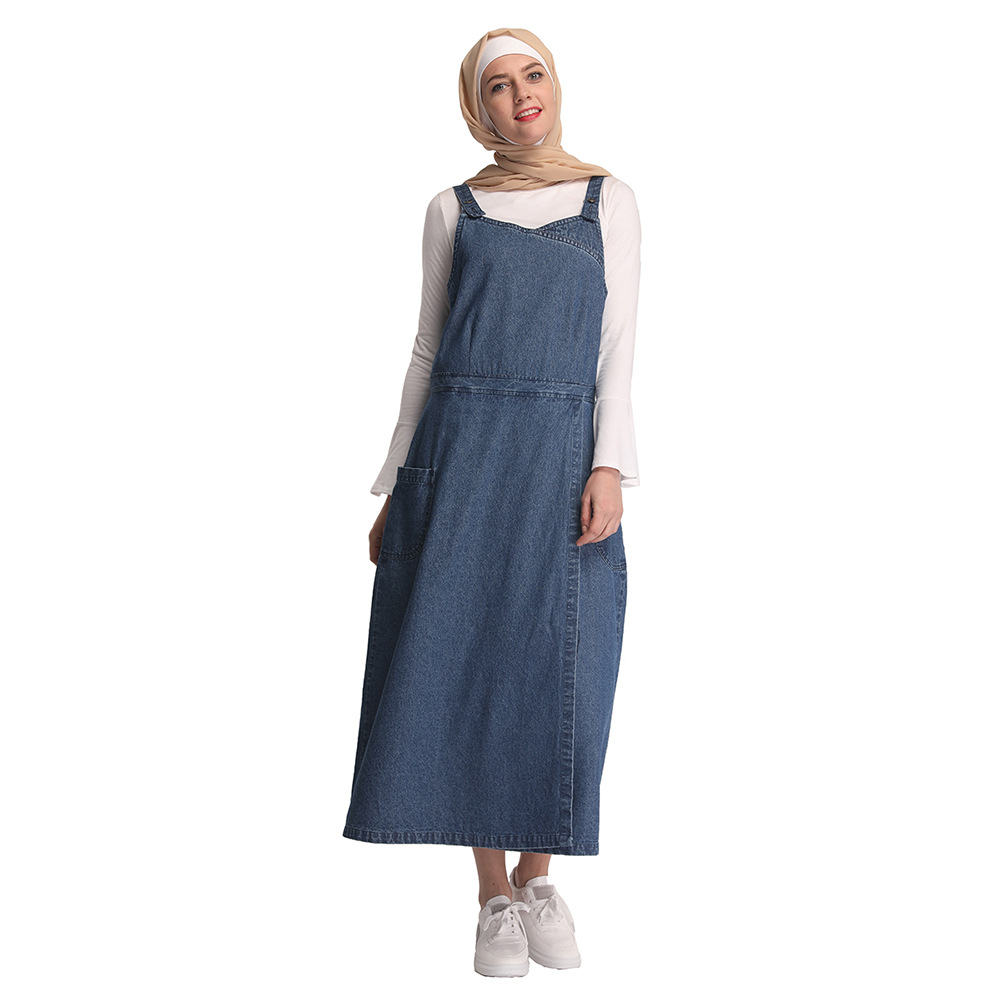 Women Denim Loose Maxi Pinafore Dungaree Dress Long Jean Strap ...