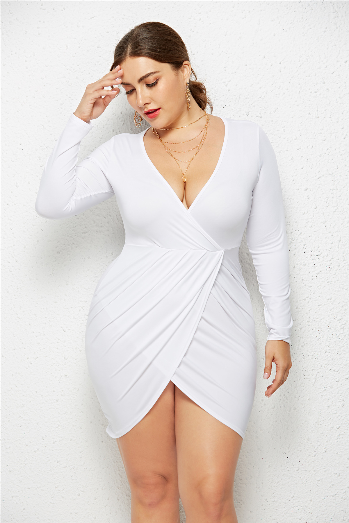 Details about Women Plus Size V-neck Long Sleeve Dress Pleated Bodycon  Party Prom Mini Dresses