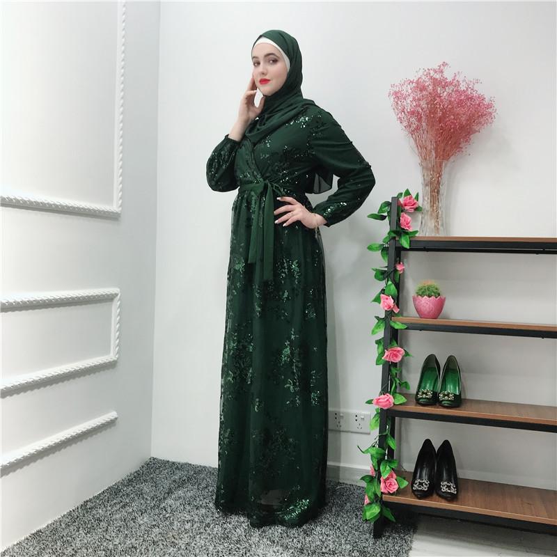 Women Lace Abaya Long Maxi Dress Arab Muslim Robe Jilbab Islamic Cocktail Kaftan
