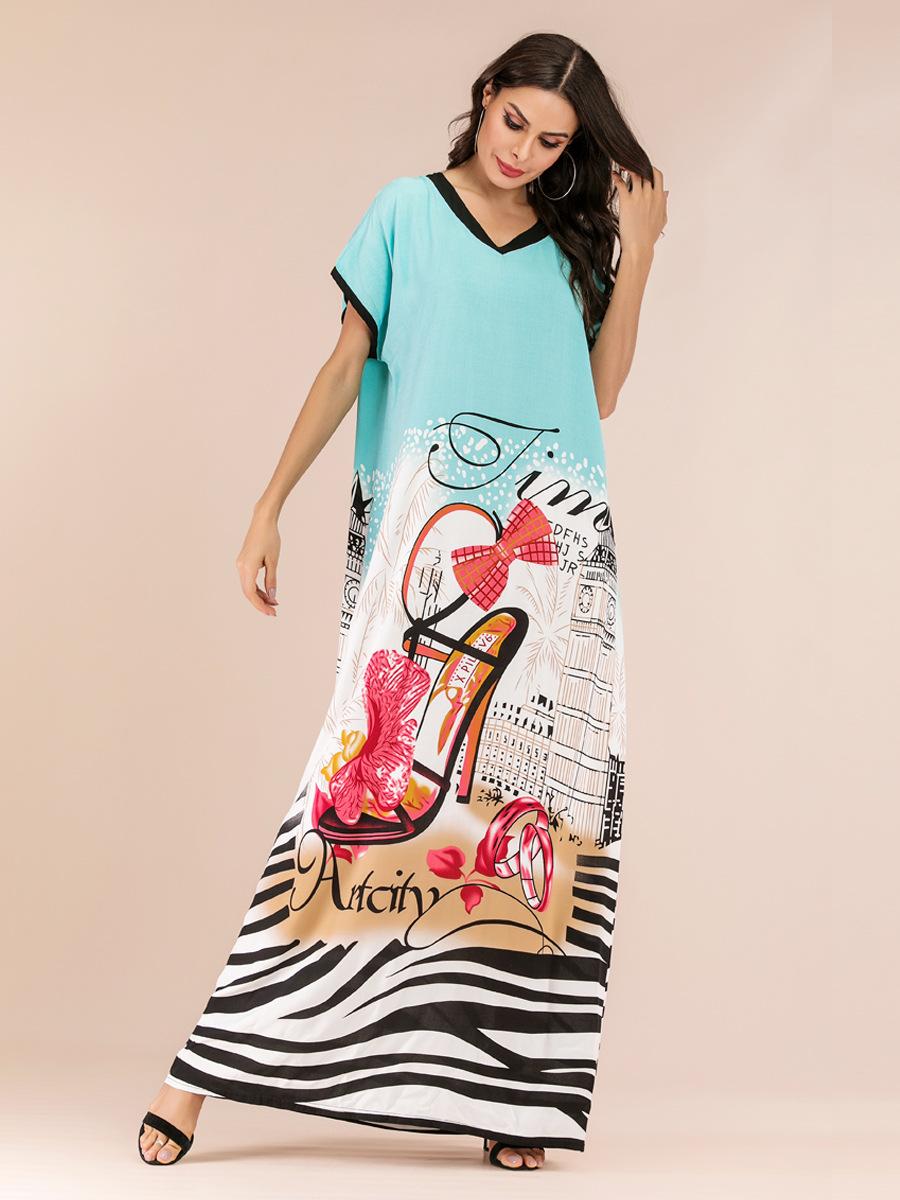 Abaya Kaftan Muslim Dress Women Short Sleeve Long Robe Arab Caftan Beach Dresses