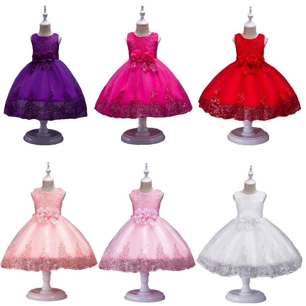Baby Kids Girl Princess Dress Wedding Bridesmaid Pageant Party Bow Tutu Dresses
