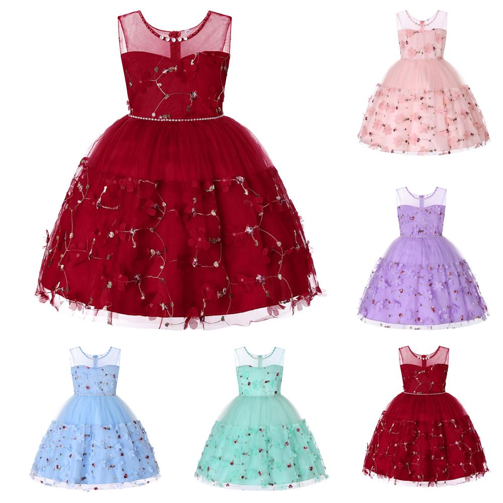 Girls Kids Bridesmaid Dress Princess Flower Tulle Bow Party Banquet Tutu Dresses