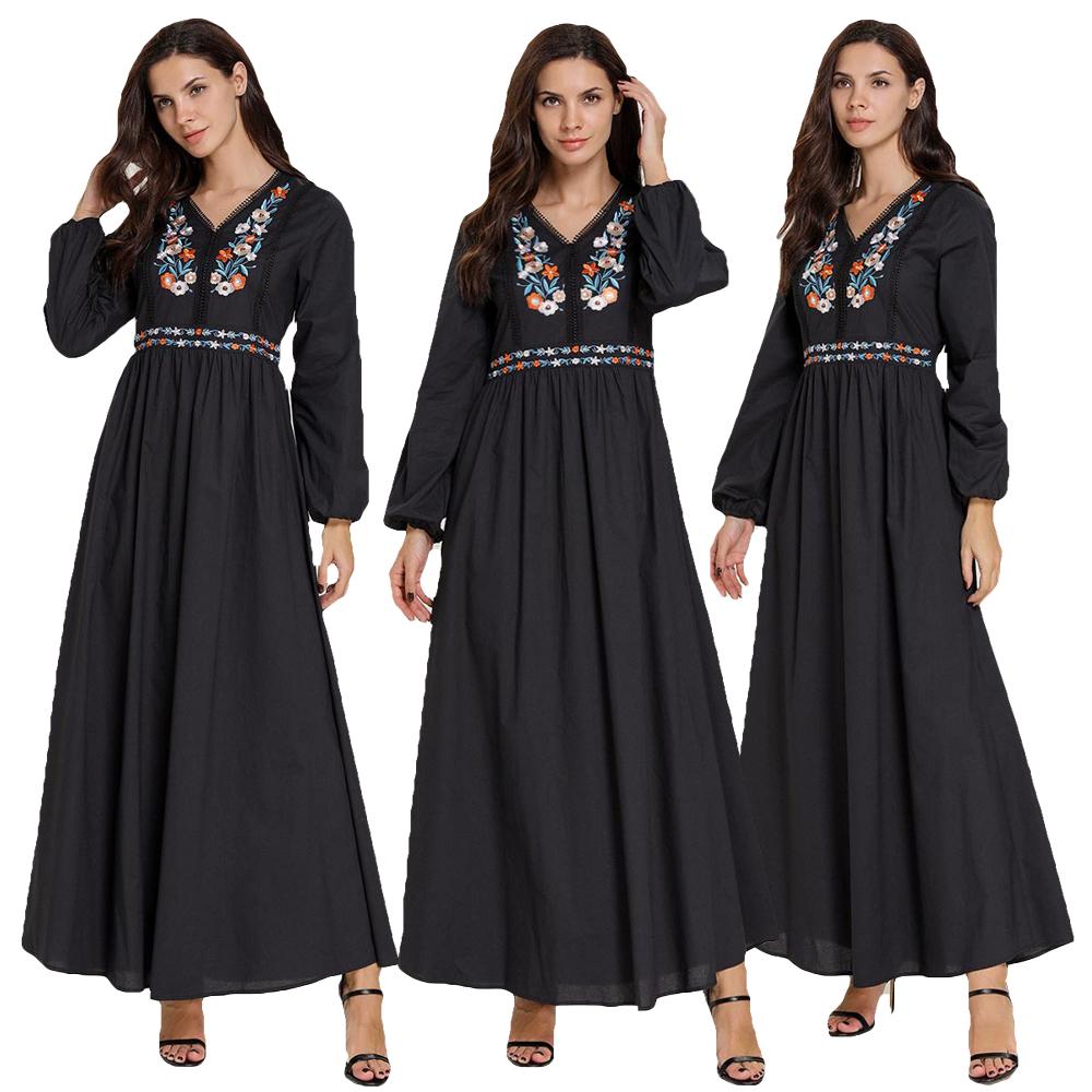 Dubai Abaya Muslim Embroidery Women Dress Cocktail Maxi Kaftan Loose Robe Jilbab