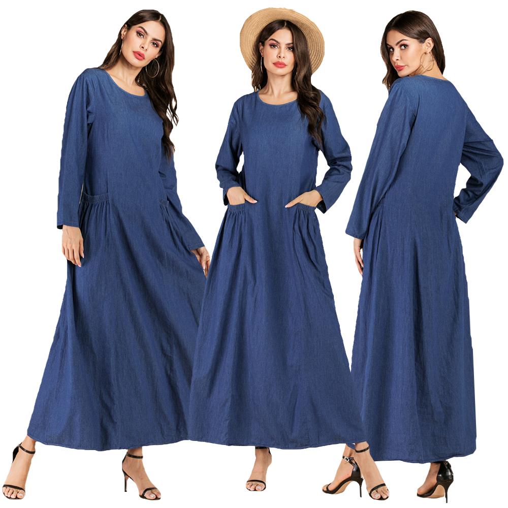Details about Blue Muslim Women Maxi Dress Abaya Denim Kaftan Robe Long  Sleeve Plus Size Party