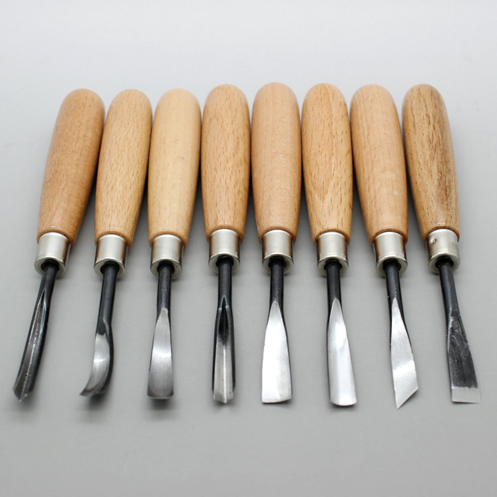 Product Wood Carving Knife: 8Pcs Hand Wood Carving Knife Tools Chip Detail Chisel Set