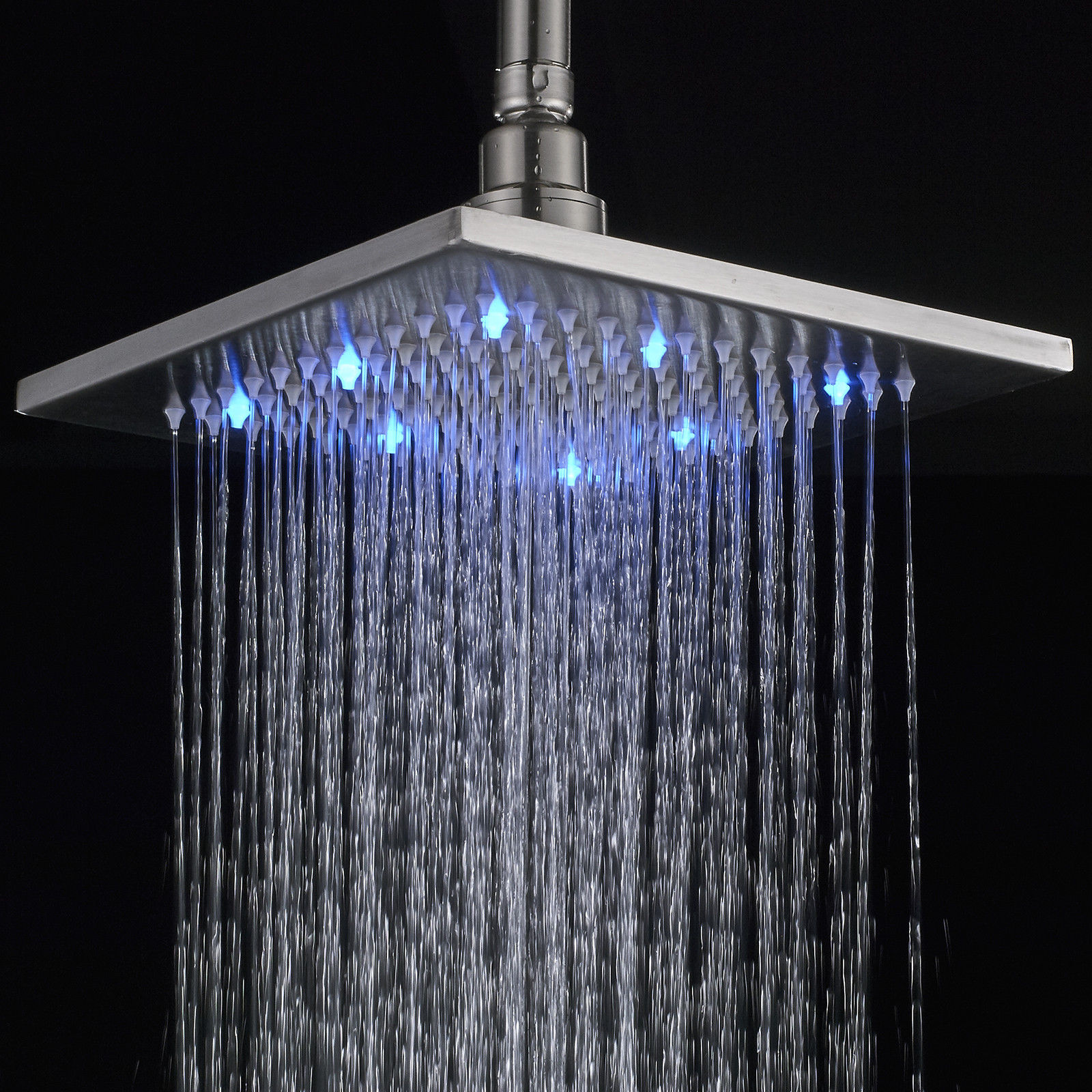 Details About 16 Inch Led Rainfall Shower Head Faucet Wall Mount Shower Arm Brushed Nickel Tap