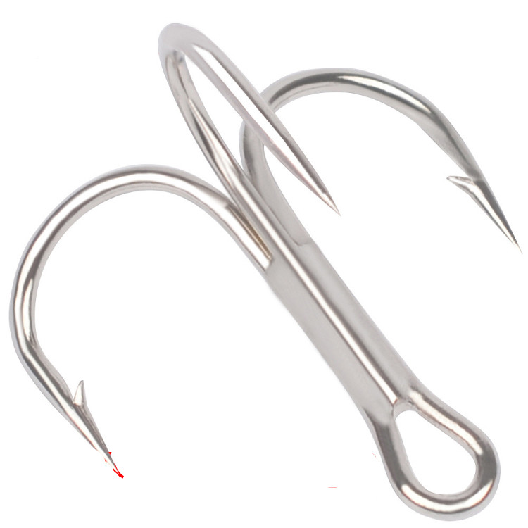 100 x Fishing Hook Sharpened Treble Hook High Carbon Steel Silver Hook 1//0-8//0