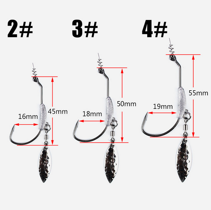 Offset Hooks Weighted Wide Gap Weedless Soft Lures Bait Worm Pike Perch