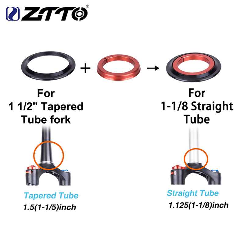 ZTTO ZS44 Bicycle Headset CNC Tapered Tube Fork Internal Threadless Bearing Set