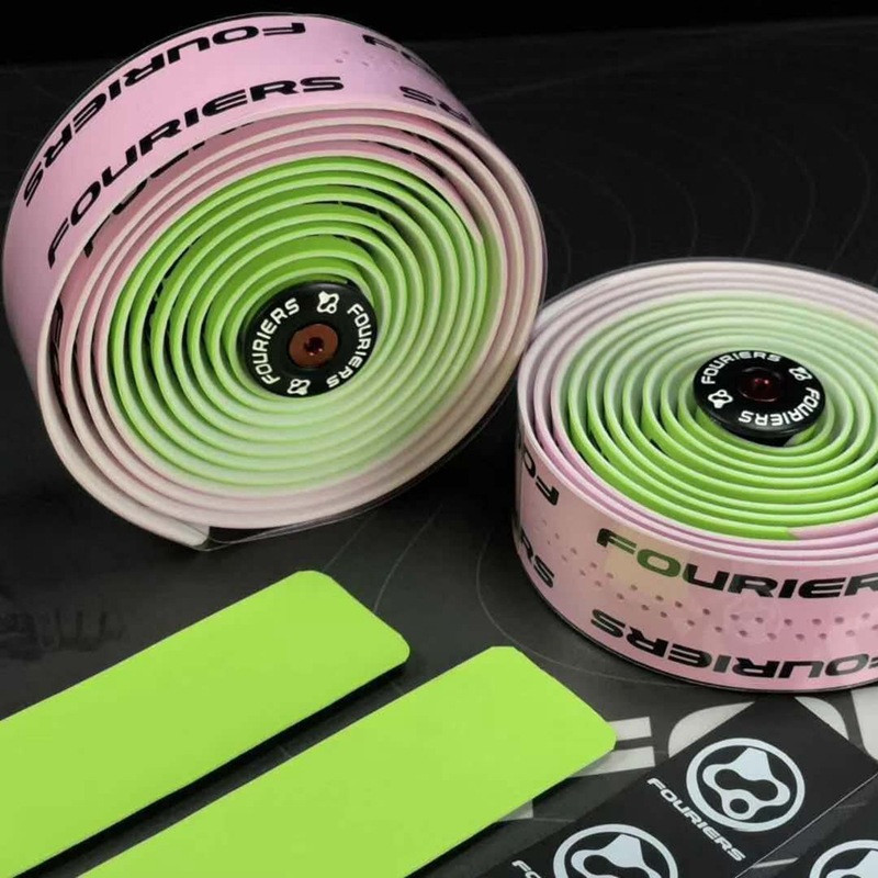 Fouriers PU Lether Drop Handlebar Tape Road Bike Wraps 3mm 200cm Alloy Bar Plug