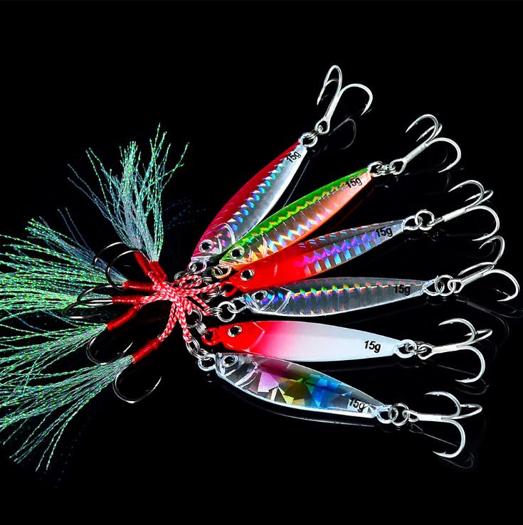 6pcs Metal Jigs Fishing Lure Lead Baits Treble /& Jig Hooks Jig Lures Fish tackle