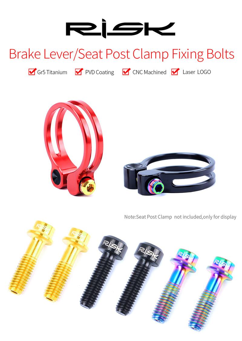 2Pcs RISK TI Alloy Bike Fixing Bolts M5x18 MTB For Brake Lever Seat Post Clamp