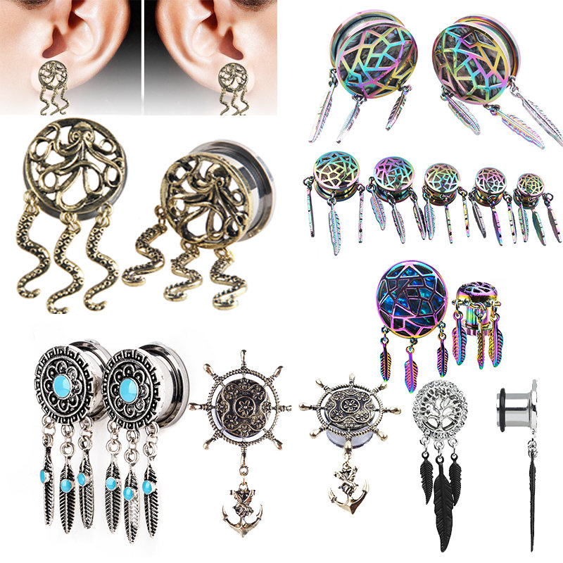 Classic Dreamcatcher Feather Dangle Ear Plug Sold as a Pair