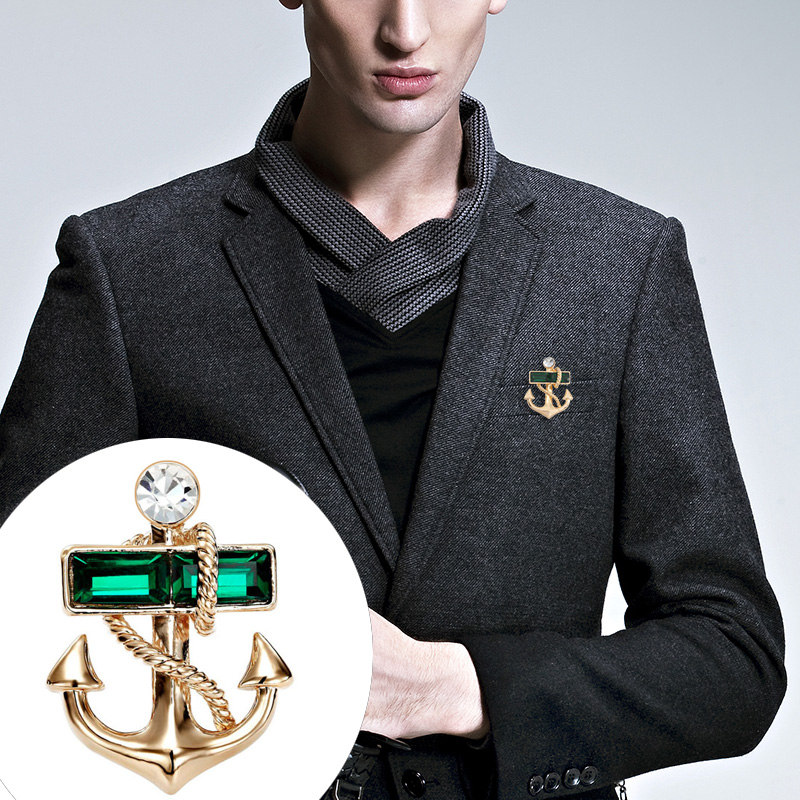 Details about Mens Fashion Pirate Crystal Anchor Brooch Lapel Pin Badge Shirt Suit Jewellery