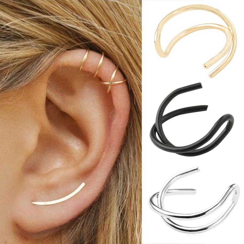 Détails sur 1X Boucle d\u0027oreille Cartilage Clip Cuff Manchette Bijoux Non  Piercing Femme