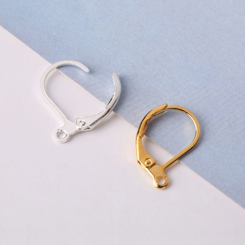 60Pcs Brass French Hooks Ear Wires Connector Clip Lever Back Earrings Finding