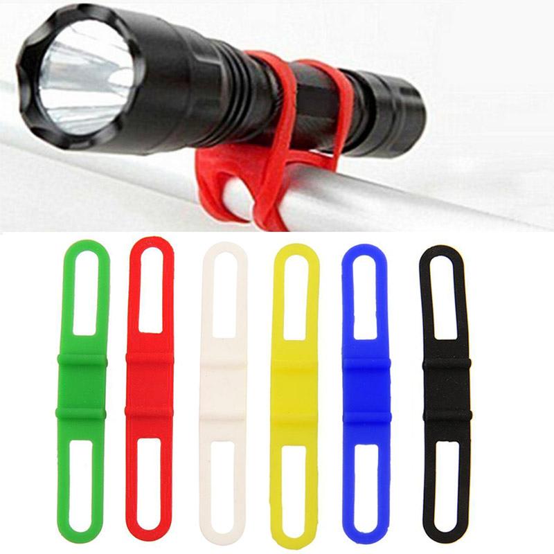 Cycling Bicycle Flashlight Torch Mount Holder Silicone Elastic Strap Bandage AE