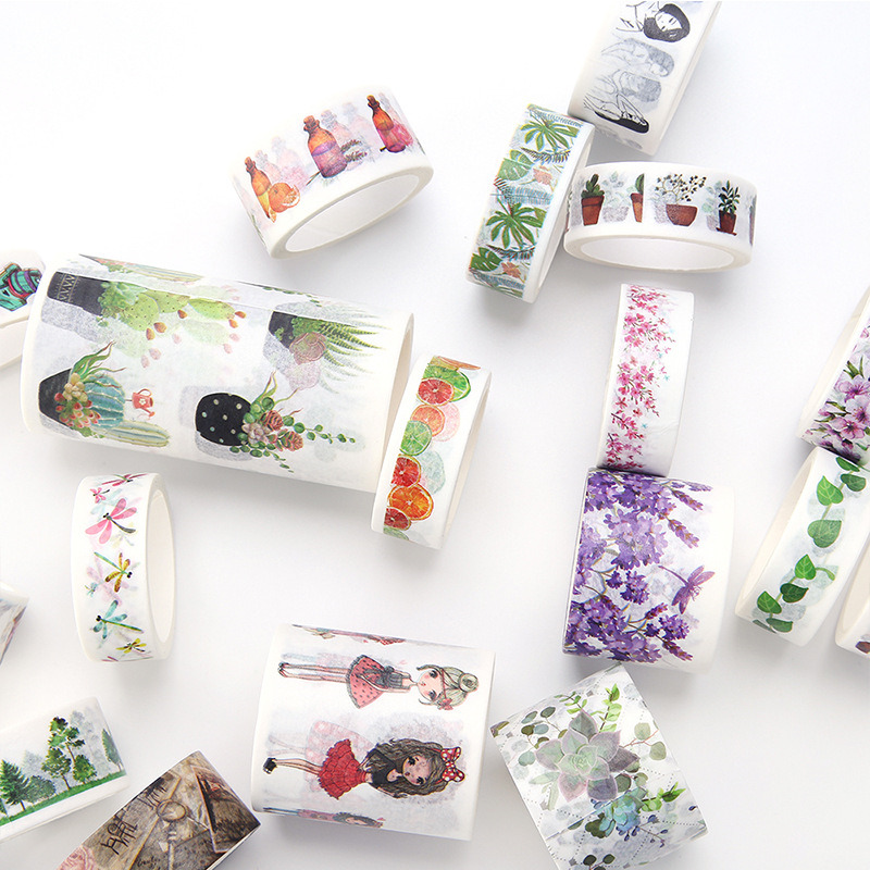 Washi Tape Set Floral Flowers Multi-Coloured 12 x 10m